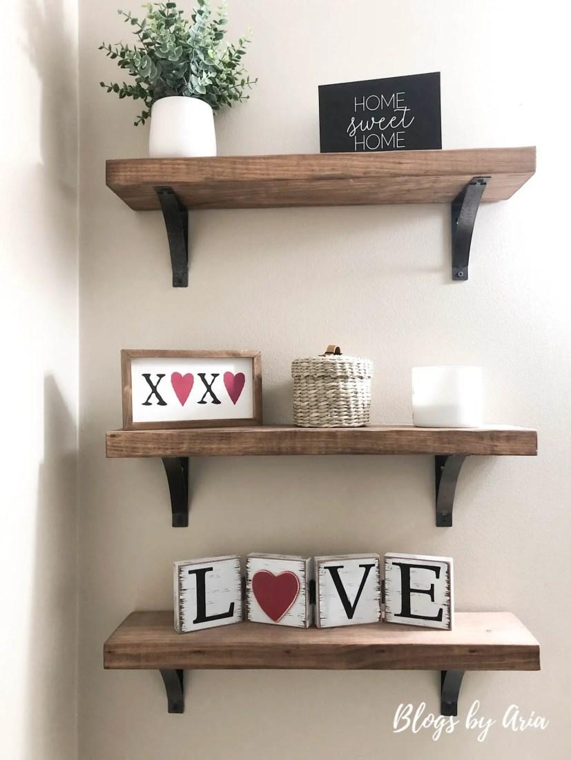 valentines floating shelf home decor