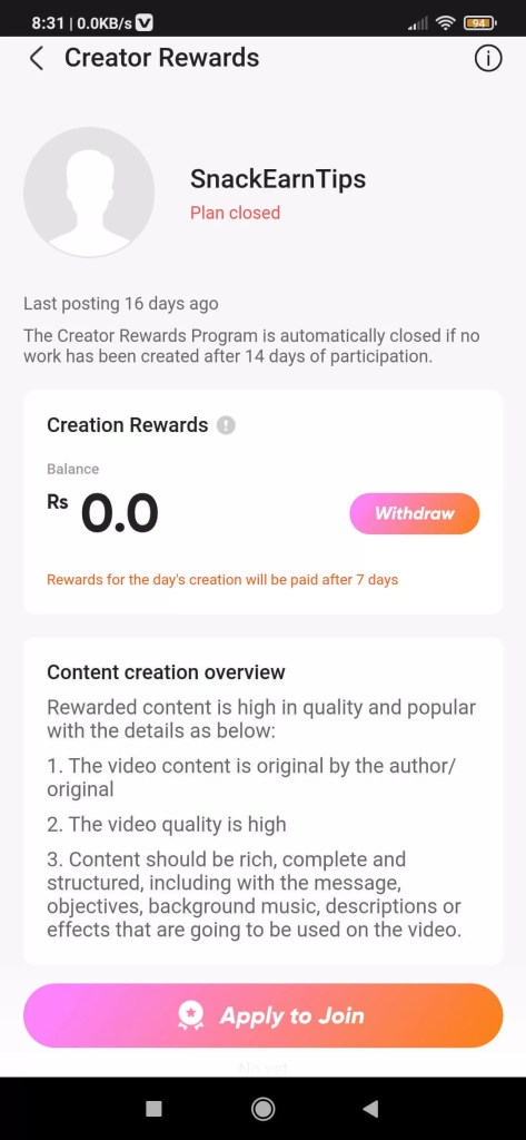 By creator rewards
