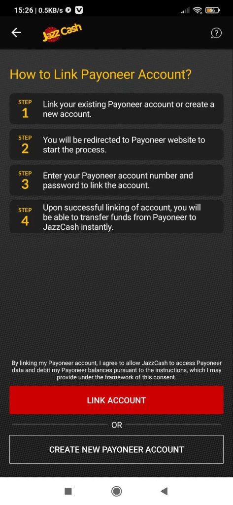 How to link the Payoneer account with the jazz cash account