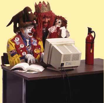 clown on computer
