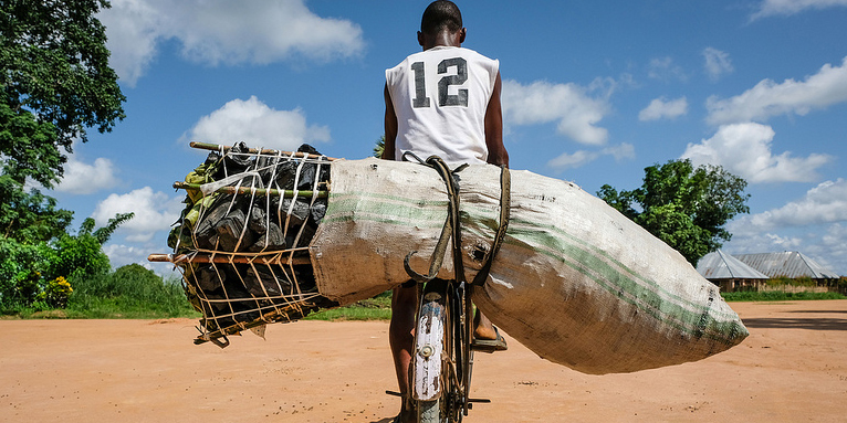 Charcoal sac transported in the DRC.