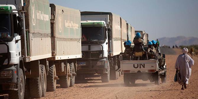UN trucks in Darfur, Sudan