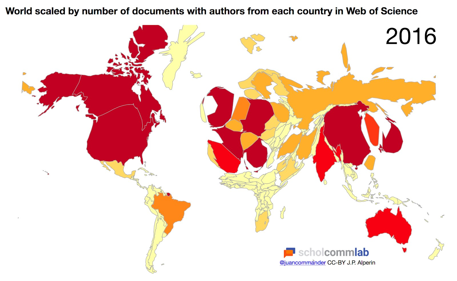 World scaled by number of documents with authors from each country in Web of Science.