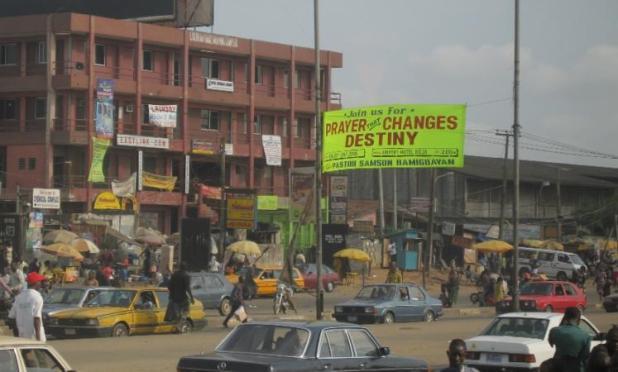A Prosperity Gospel advert in Lagos, Nigeria. Credit: Daniel Jordan Smith.