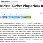 "Even the greats screw up: ""The New Yorker Plagiarizes itself"" by Paul Brodeur"