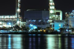 Oil Refinery Plant Night Scene Nearby River by samuiblue