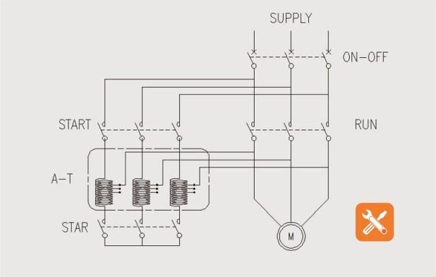 wiring diagram pengasutan motor auto transformer