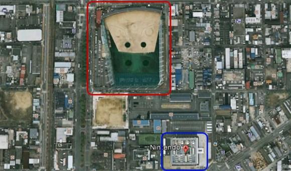 El nuevo edificio de Nintendo se muestra en rojo y los HQ actuales en azul.