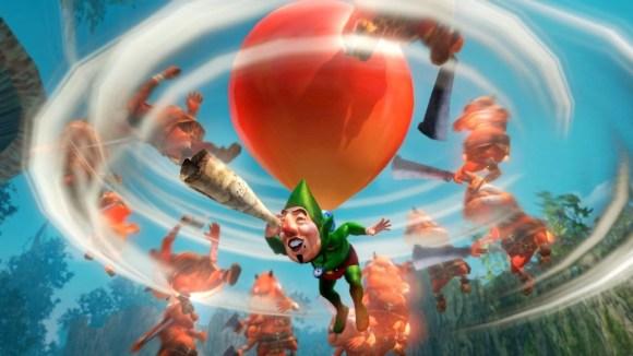 En la imagen se ve a Tingle, parte del DLC de Hyrule Warriors, tratando de encontrar buen DLC en otras compañías.