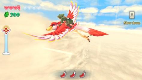Zelda volando sobre Epona buscando el siguiente nivel.