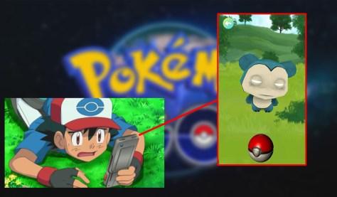 Pokemon Go, Ash, Snorlax, Creepy, Chino, Smartphone, App, Pokeball
