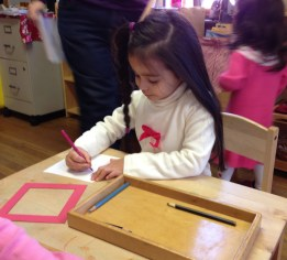 Working with the metal inset develops fine motor coordination