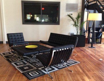 The lounge invites patrons to chat, read, or relax.