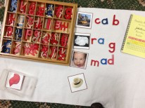 One of the language drawers (left corner) holds a series of images that the student spells out using the moveable alphabet. After completing each drawer, the student colors in the corresponding numbered square in his or her Hands-On Phonics workbook (upper right).