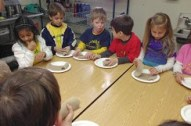 Each child got to roll his or her own enjera pancakes once the other wot components were passed around!