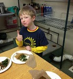 Thumbs up on the dish from this intrepid first-grader!