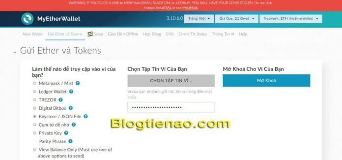 Cách đăng nhập vào ví MyEtherWallet bằng Keystore