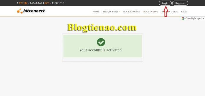 Đăng nhập vào hệ thống của Bitconnect