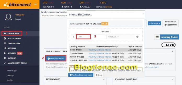 Lending Bitconnect