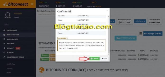 Rút lãi Bitconnect. Ảnh 7