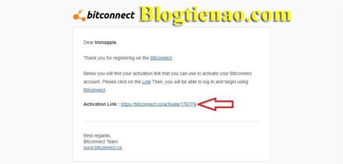 Xác nhận Email đăng ký Bitconnect