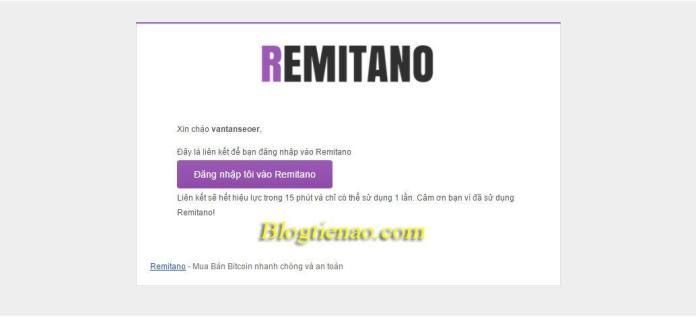 Kích hoạt tài khoản để đăng nhập vào Remitano vn