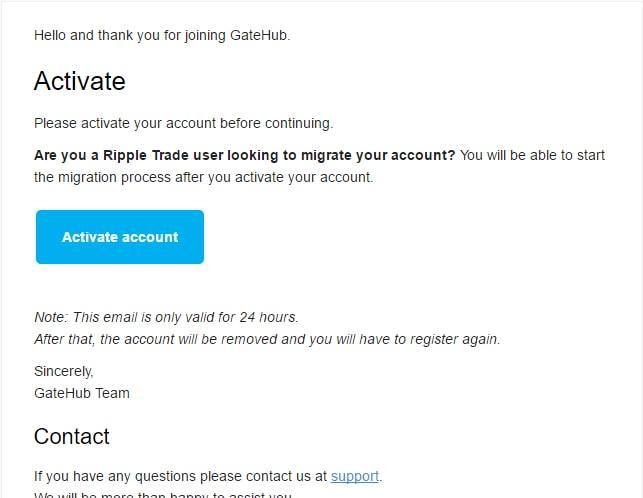Kích hoạt tài khoản ví Ripple của bạn