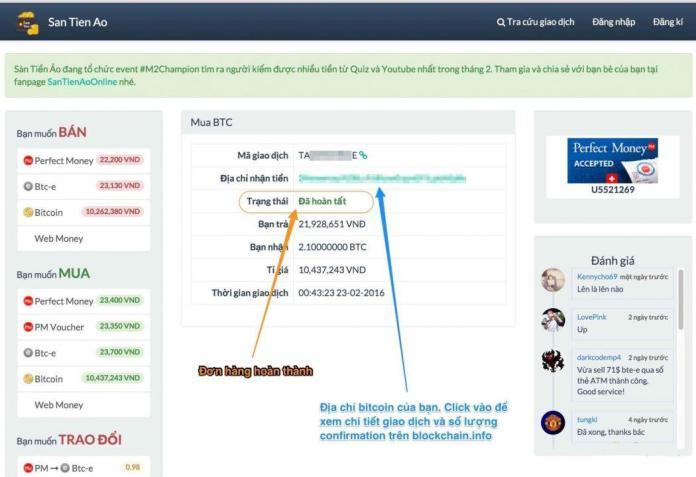 Bước 3: Mua bán Bitcoin trên santienao.com