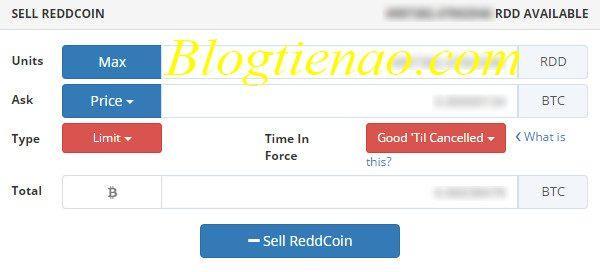 Nhập thông tin bán Altcoin