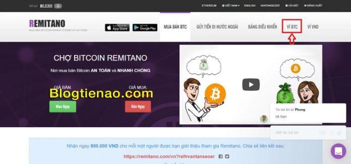 Tạo ví Remitano để chứ BTC