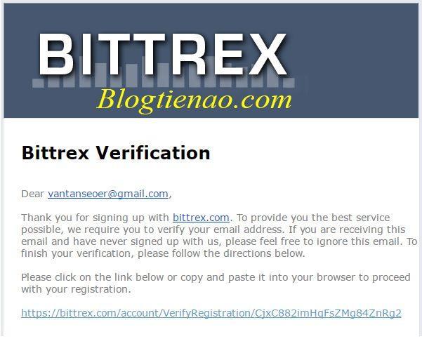 Xác nhận Email đăng ký Bittrex