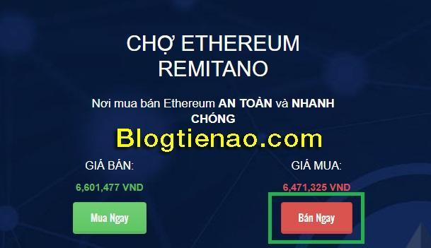 Bán ngay Ethereum trên Remitano