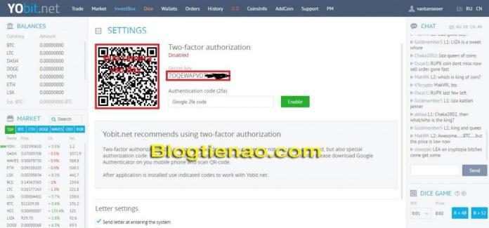 Bật bảo mật 2FA cho tài khoản YoBit. Ảnh 2