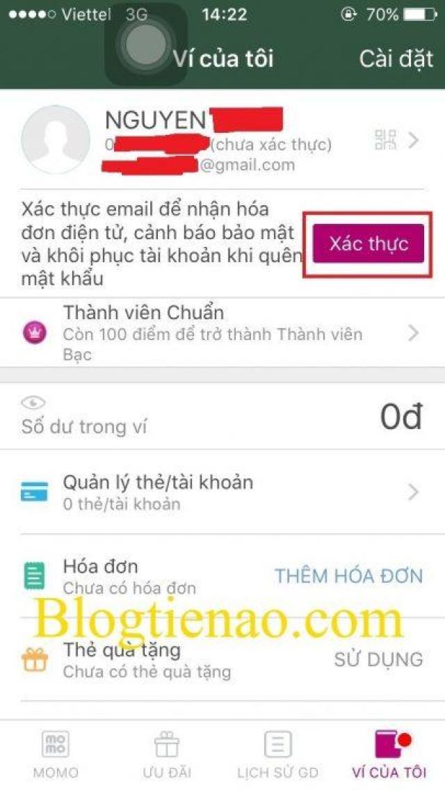 Hướng dẫn xác thực tài khoản tại ví Momo