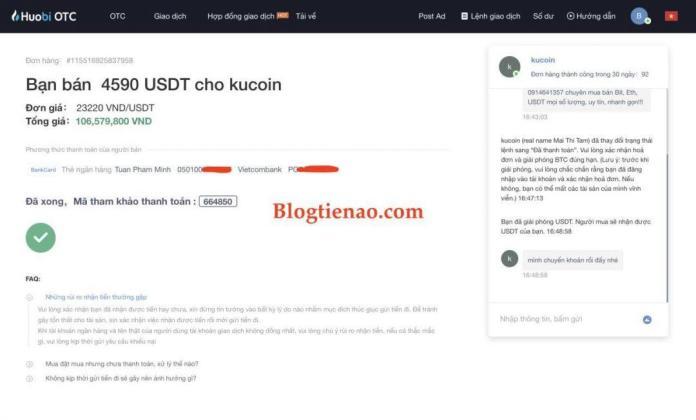 Bán Bitcoin, USDT thành công