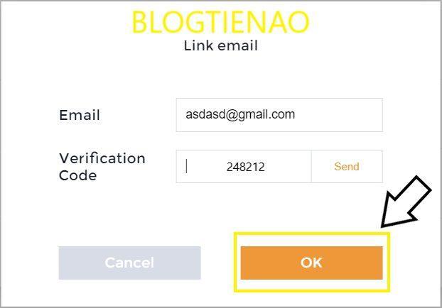 Nhập mã xác nhận được gửi tới email
