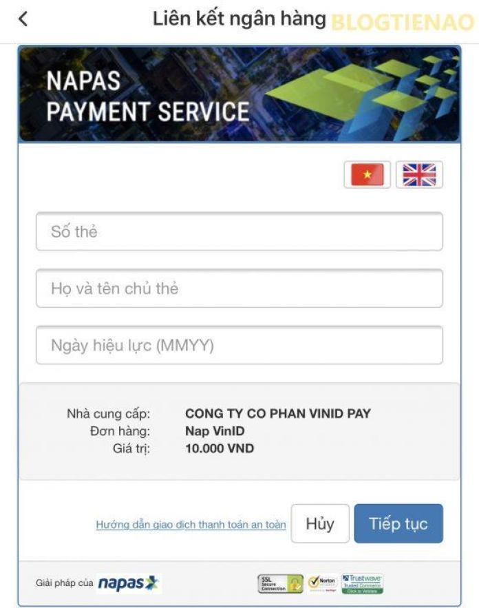 Nhập thông tin chủ thẻ để liên kết với ví VinID