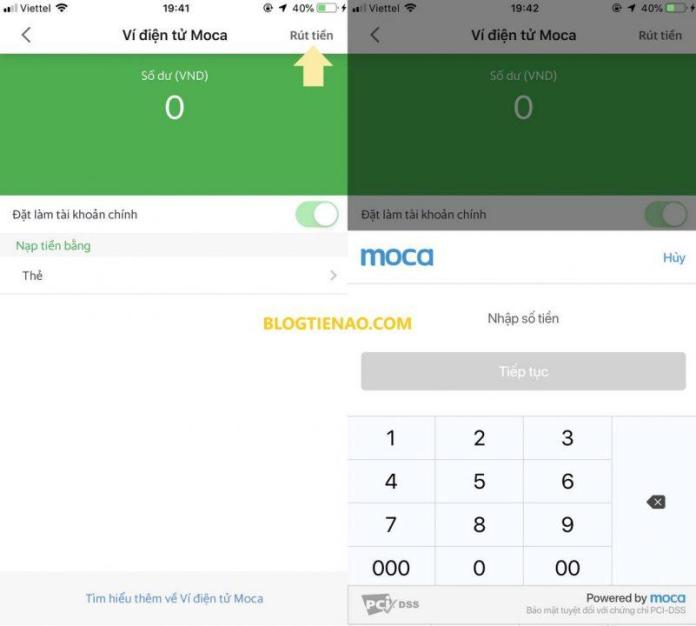Nhập số tiền cần rút khỏi GrabPay by Moca