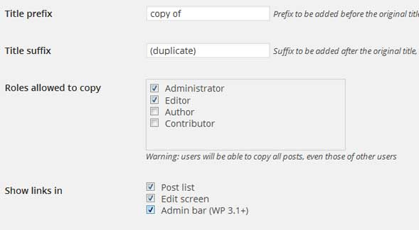 Duplicating wordpress posts and pages