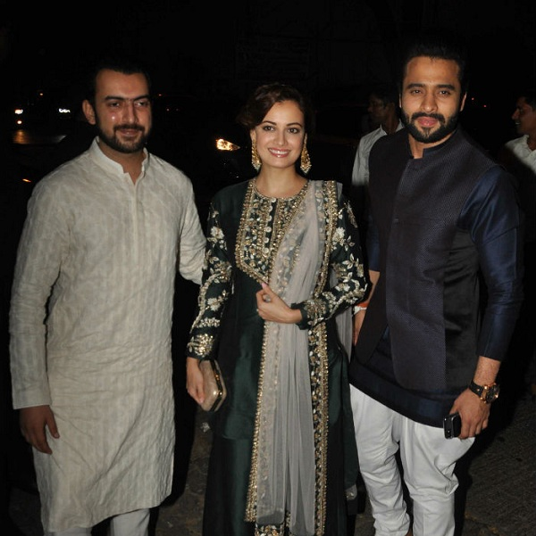 Dia Mirza with husband Sahil Sangha and Jacky Bhagnani