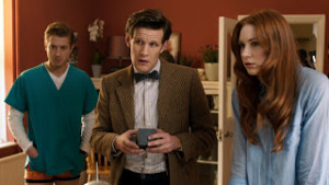 Doctor Who - The Power of Three - Rory Williams (ARTHUR DARVILL), The Doctor (MATT SMITH), Amy Pond (KAREN GILLAN) - (C) BBC - Photographer: screengrab