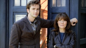 Elisabeth Sladen and Tenth Doctor David Tennant