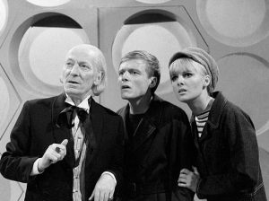 Doctor, William Hartnell with Michael Craze (merchant seaman Ben Jackson) and Anneke Wills (as trendy secretary Polly)