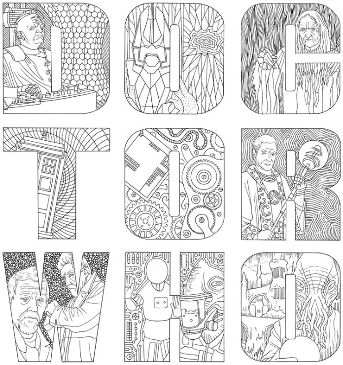 Sample page from Doctor Who: The Colouring Book