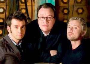 David Tennant, Russell T. Davies and John Sim - Doctor Who (c) BBC