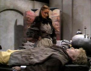 The Rani (Kate O'Mara) and The Doctor (Colin Baker) - The Mark of the Rani