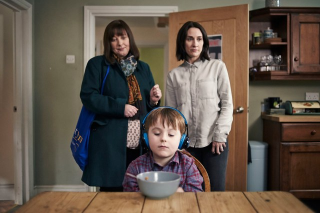 The A Word - Maggie White (LISA MILLETT), Joe Hughes (MAX VENTO), Alison Hughes (MORVEN CHRISTIE) - (C) FIfty Fathoms - Photographer: Rory Mulvey