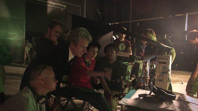 Peter Capaldi and Rachael Talalay on set of Doctor Who (c) BBC