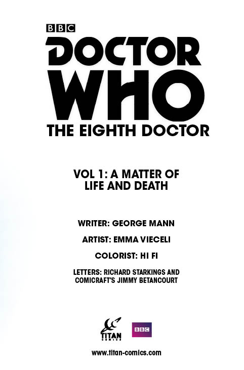 Titan Comics - Eighth Doctor Vol 1: A Matter of Life and Death - Credits