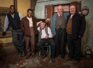 A Midsummer Night's Dream - Snug (JAVONE PRINCE), Flute (FISAYO AKINADE), Snout (BERNARD CRIBBINS), Starveling (RICHARD WILSON), Bottom (MATT LUCAS) - (C) BBC - Photographer: Des Willie